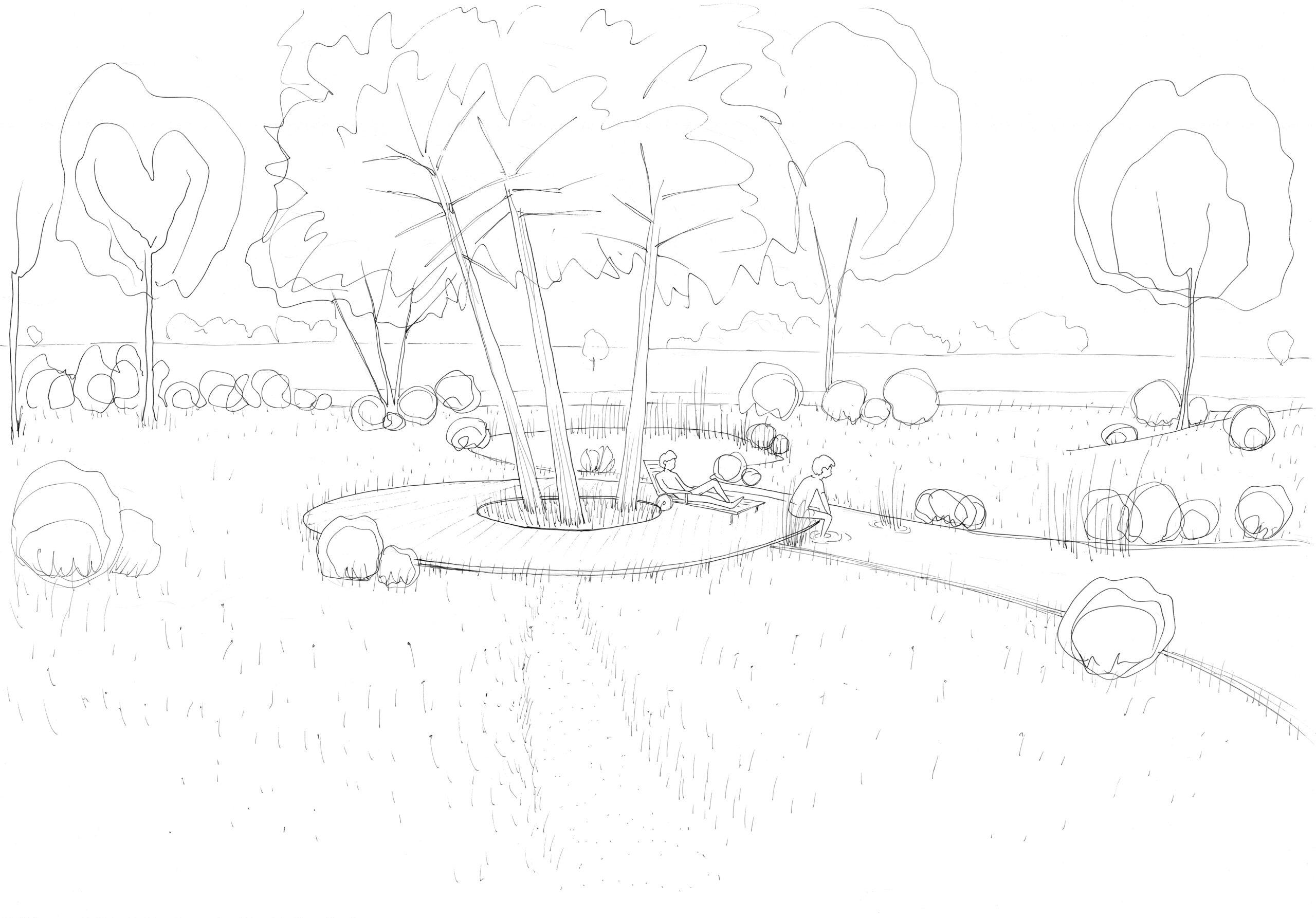 wadi en platform rond dennen